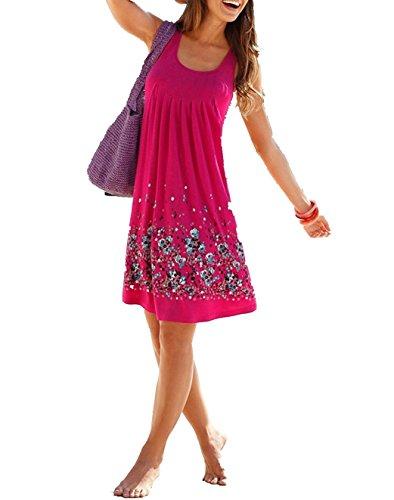 Minetom Las Mujeres Verano Sin Mangas Corta Dress Vestido Playa Corto Cuello Redondo Hasta La Rodilla Falda Floral Alinear Rosa