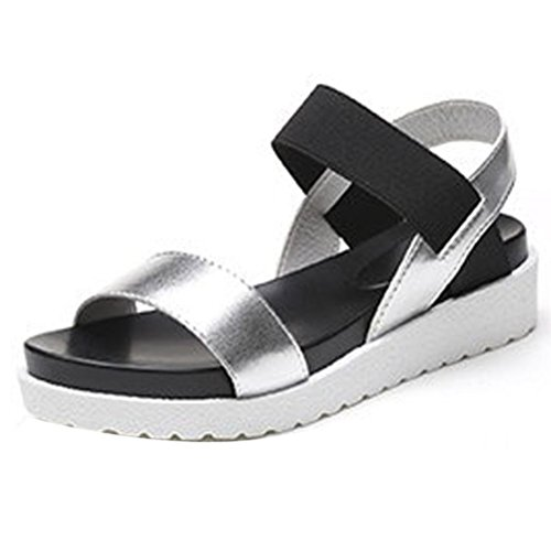 haoricu Women Shoes, Women's Summer PU Sandals Peep Toe Low Shoes Roman Sandals Ladies Flip Flops Platform Shoes (US:7, Silver)