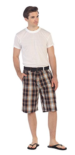 - Gioberti Mens Plaid Shorts with Belt, Brown/Charcoal, Size 30