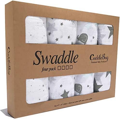 CuddleBug Premium Muslin Baby Swaddle Blankets - 4 Pack of Unisex Large Receiving Blankets for Newborns - Increase Babies REM Sleep by 50% - Perfect (Starry Nights)