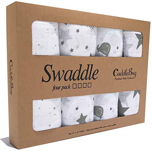CuddleBug Muslin Baby Swaddle Blankets Starry Nights 4 Pack 47 x 47 inch Large Muslin Swaddles - Soft Cotton Blankets Perfect for Nursery Sets - Unisex