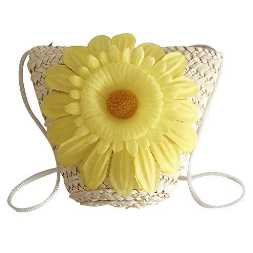 YEZIJIN Clearance!Women's Fashion Sunflower Decorative Bag Woven Children's Bag Messenger Bag 2019 New