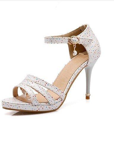LFNLYX Zapatos de mujer-Tacón Stiletto-Tacones-Sandalias-Exterior / Casual / Fiesta y Noche-Semicuero-Azul / Rosa / Rojo / Blanco White