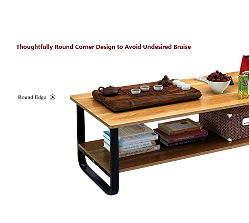 Rectangular Coffee/Tea Table with Storage Shelf (Wood) by Elevens (Image #2)