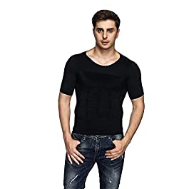 Odoland Men's Body Shaper Slimming Shirt Tummy Waist Vest Lose Weight Shirt, Men's Elastic Sculpting Vest Thermal Compression Base Layer Slim Compression Muscle Tank Shapewear Men