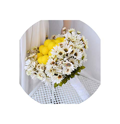 Artificial Daisy Bouquet Wedding Bridal Bridesmaid Bouquet Home Decoration Bride Holding Flower Yellow Wool Felting Balls Artificial Flowers - Wool Felting Flowers