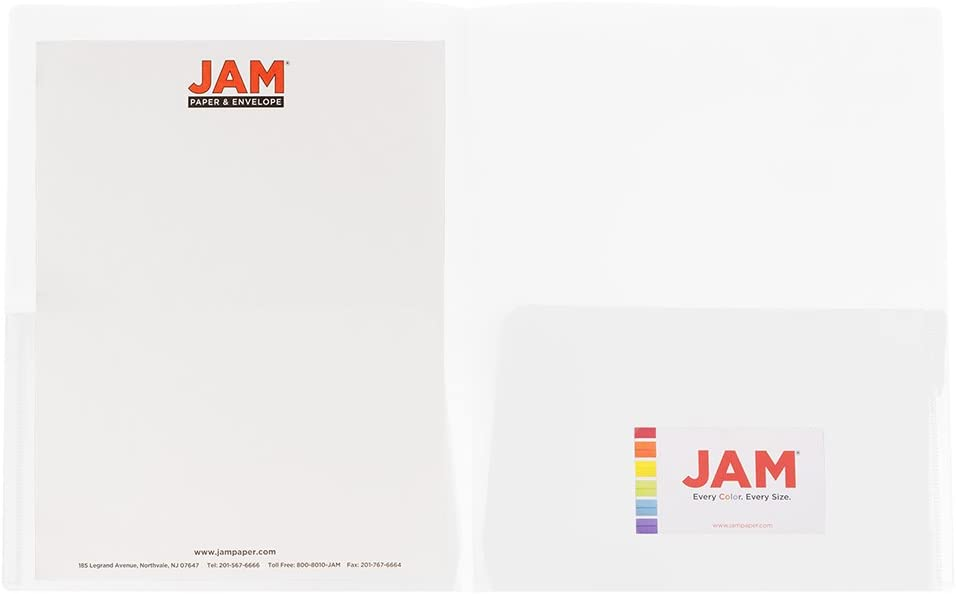 Clear JAM PAPER Plastic Light Weight Two Pocket Presentation Folders 6//Pack