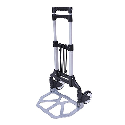 Heavy Duty Aluminium Folding Luggage Trolley,Lightweight Foldable Small Sack Truck Folding,Portable Hand Luggage Cart Trolley 60Kg with Bungee and PU Wheels 60Kg