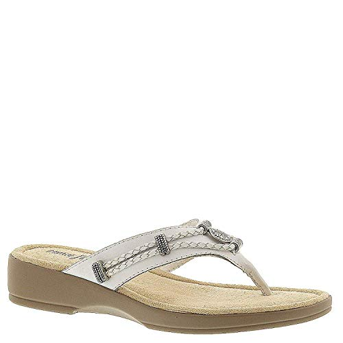 Minnetonka Womens Silverthorne Leather Open Toe Casual, White, Size ()