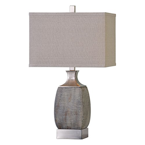 Textured Rust Bronze Gray Table Lamp | Silver Contemporary Industrial Elegant ()
