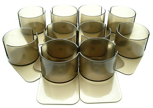 10 Deluxe Slotted Drink Holders Plastic Slide Under by Vegas Gaming Supplies