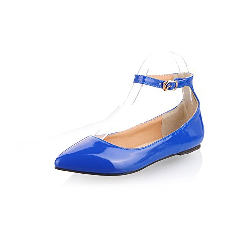 - Odetina Blue Women's Pointy Toe Ankle Strap Comfy Patent Leather Ballet Flats Dress Shoes Size 11.5 (B) M US