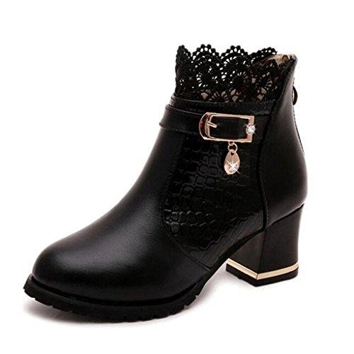 Kjære Tiden Kvinner Glidelås Blonder Blokk Hæler Ankel Boots Svart