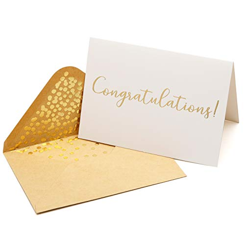 50 Pack Congratulations Card - Elegant Greeting Cards With ''Congratulations'' Embossed In Gold Foil Letters - Engagement, Graduation, Wedding - 50 Kraft Envelopes Included - 4