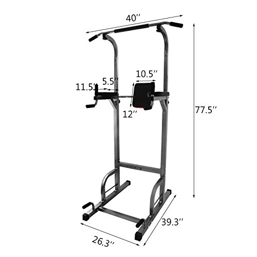 OrangeA 360 361 363 Multi Function Power Tower Dip Station Adjustable Height Folding Power Tower with Sit Up Bench Pull Up Bar Standing Tower for Indoor Home Gym Fitness