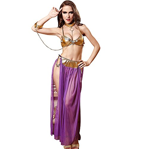 Icerom Women's Halloween Uniforms Costume Princess Leia Slave Miss Manners Uniform Lingerie Set]()