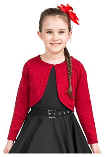 BlackButterfly Kids Long Sleeve Sparkle Cardigan Childrens Girls Shrug (Red, 9-10 ()