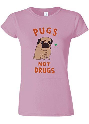 悪性のベンチ三角形Pugs Not Drugs High Weed Novelty Light Pink Women T Shirt Top-L
