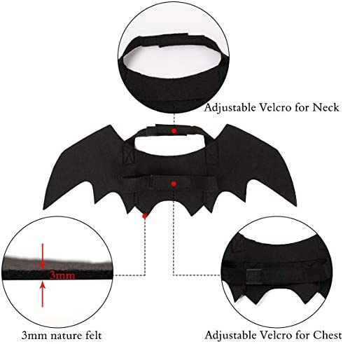 Vikedi Cat Halloween Costume with Cat Collar Bow Tie, Cat Bat Wings for Halloween Party Cosplay Decoration, Pet Costumes Apparel for Cat Small Dogs 21
