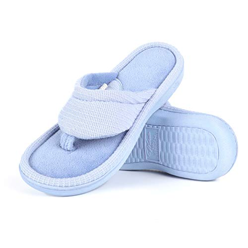 - Wishcotton Summer Slippers, Memory Foam Flip Flop House Shoes Light Blue, Size 7-8