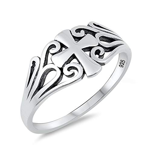 Sterling Silver Filigree Cross Ring - Oxidized Filigree Cross Swirl Christian Ring 925 Sterling Silver Band Size 9