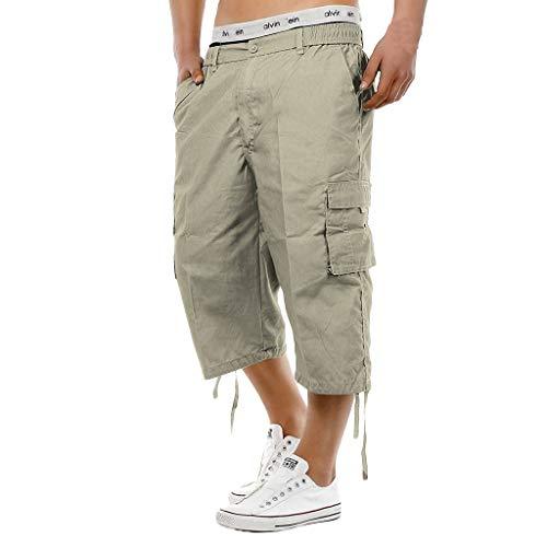 Capri Long Shorts for Men,Cargo Shorts Casual Twill Elastic Cargo Shorts Below Knee Loose Fit Baggy Capri Pants Khaki