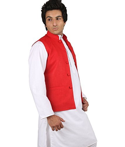 Royal Kurta Men's Cotton Nehru Jacket Small Red