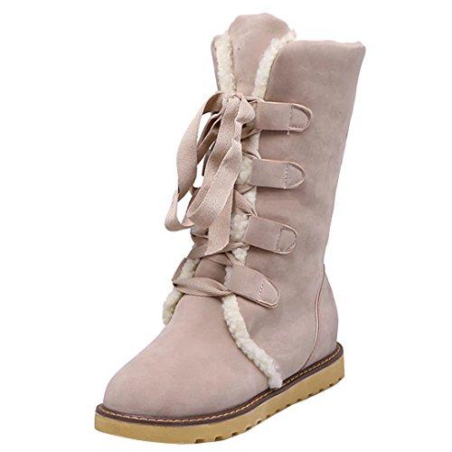 AIYOUMEI Damen Winter Flache Halb Stiefel mit Schnürung und Plateau Bequem Mid Calf Boots Beige