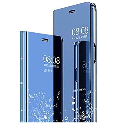 new concept dfe57 1dbb6 AE Mobile Accessories (TM) Mirror Flip Cover Semi Clear View Smart Cover  Phone S-View Clear, Kickstand FLIP Case for XIAOMI MIA2 / MI A2 Blue  (Sensor ...