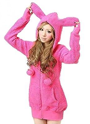 Women's Cute Rabbit Ears Long Sleeve Zip Up Sweatshirt Fleece Jacket Coats