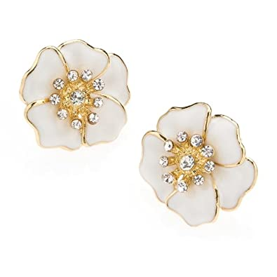 Weiße Blumen Ohrringe für Frauen: Amazon.de: Schmuck