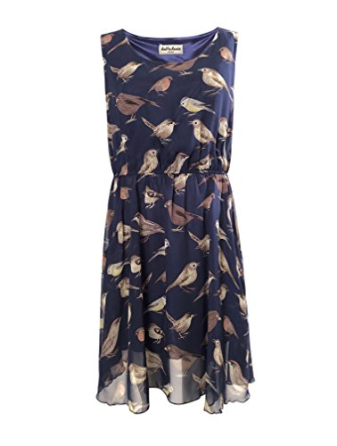 LaVieLente Bird/Alpaca Print Pattern Midi Dresses with Side Pockets and Sleeveless Designs