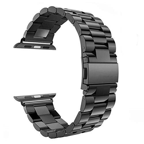 - for Apple Watch Band Black 42MM/44MM Stainless Steel Strap Wristband for Replacement iWatch Strap with Comfortable Durable Folding Metal Clasp Classic Buckle Wrist Watch Strap