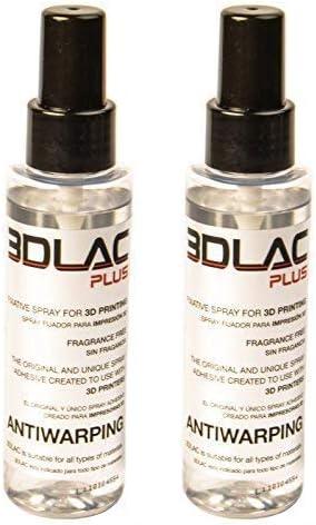 MadridGadgetStore® Pack 2 Botes 3DLAC Plus Bote Spray Fijador Adhesivo para Impresora Impresión 3D Doble Adherencia Antiwarping Sin Fragancia Filamento PLA Fléxible TPU PETG Cama Caliente