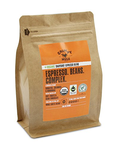 Grumpy Mule Organic Snapshot Espresso Whole Bean Coffee - 12 oz (340 grams). Fair Trade + Rainforest Alliance Certified from Sumatra, Colombia and Honduras.