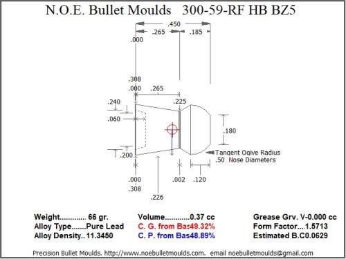 Bullet Mold 2 Cavity Aluminum .300 Caliber Hollow Base 59gr Bullet with a Round/Flat Nose Profile Type. Designed for use