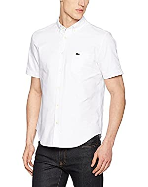 Lacoste Men's Men's Oxford Cotton White Shirt in Size XL-2XL White