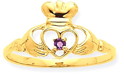 ICE CARATS 10k Yellow Gold Purple Amethyst Birthstone Band Ring Size 7.00 Stone February Claddagh Style Fine Jewelry Gift Set For Women Heart