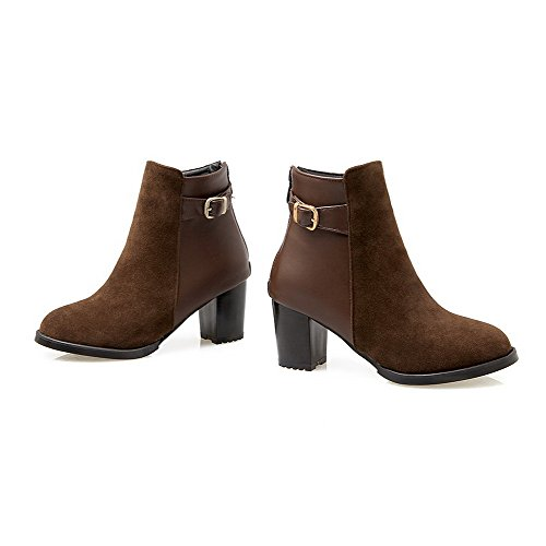 Blend top Women's Zipper Low Materials Heels AmoonyFashion Boots Brown Solid Kitten qUFTSxUw5