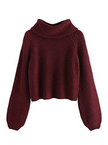 Crop Cable - Milumia Women's Turtleneck Bishop Raglan Sleeve Jumper Pullover Sweater Crop Tops Maroon S
