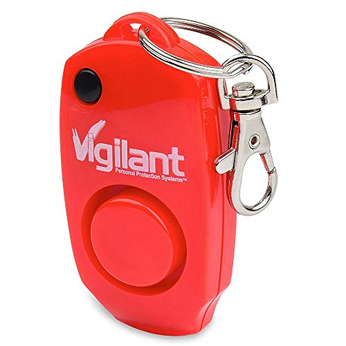 Vigilant 130dB Personal Alarm - Backup Whistle - Button Activated with Hidden Off Button - Bag Key Chain Clip - Batteries Included, Black, 1-Pack