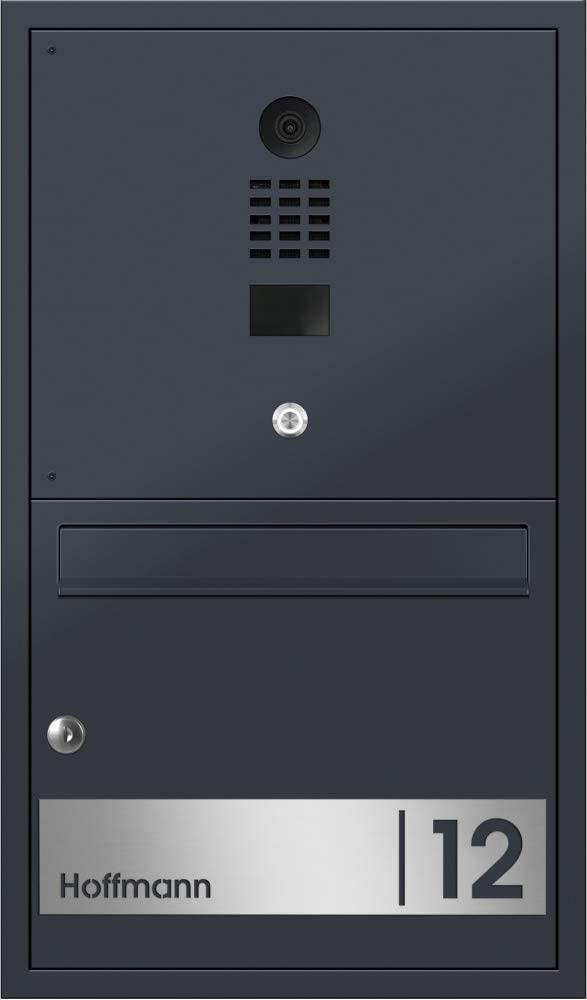Frabox® Design Unterputz - Briefkasten Oleva Anthrazitgrau RAL 7016 mit DoorBird-Videotechnik - Frabox Briefkasten mit Doorbird IP Türsprechanlage - Briefkasten Türsprechanlage