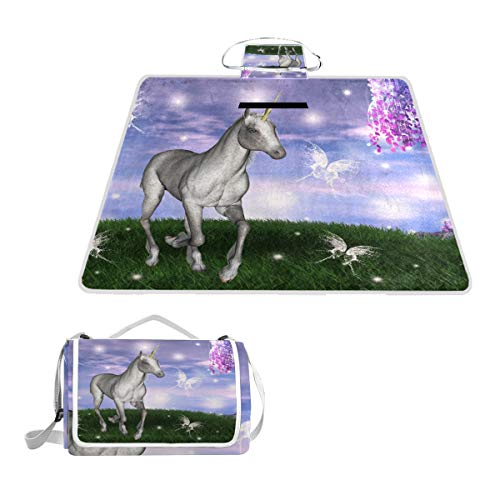 MAPOLO Unicorn in an Enchanted Meadow Picnic Blanket Waterproof Outdoor Blanket Foldable Picnic Handy Mat Tote for Beach Camping Hiking