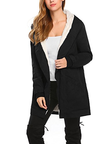 - Misakia Women's Down Coat with Fur Hood with Down Parka Puffer Jacket(Black S)