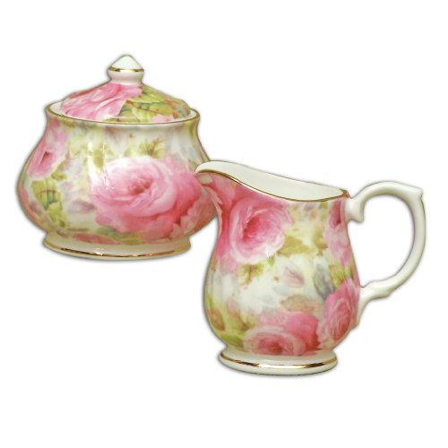 China Covered Sugar Bowl (English Tea Store Lady Diana Chintz Fine Bone China Sugar And Creamer Set Covered Sugar Bowl)