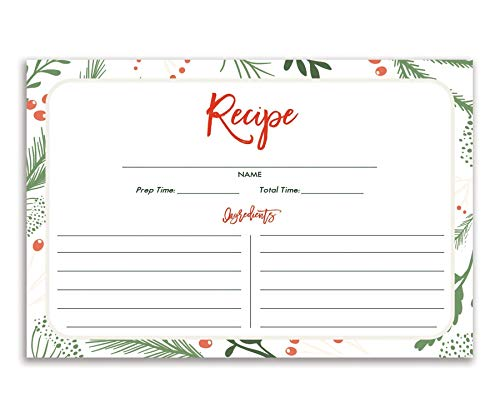 Holiday Recipe Cards (Set of 25) 4x6 inches. Double Sided Card Stock Recipe Card Set | Dorothy White