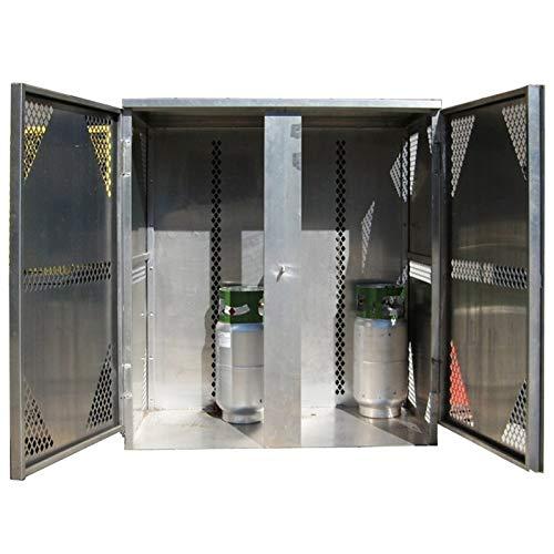 Oxygen Gas Cylinder Cabinet - Securall LP16-VERTICAL 16 Cyl. Vertical Standard 2-Door for Aluminum Cabinet for Storing LP & Oxygen Gas Cylinders