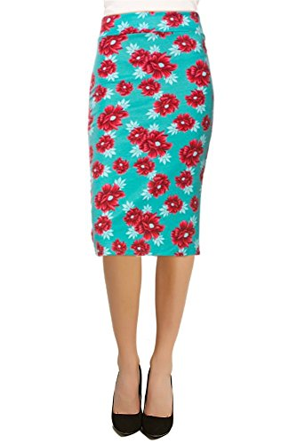 Women's Below The Knee Pencil Skirt for Office Wear - Made in USA (Size Small, Aqua/Red Floral)