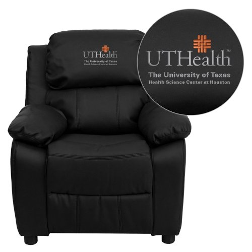 - Flash Furniture Texas Health Science Center Houston Embroidered Black Leather Kids Recliner with Storage Arms