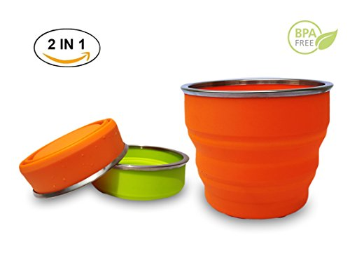 Collapsible Travel Cup Folding Bowl 2 in 1, Collapsible Travel Mug, 17oz 100% Food-Grade silicone cup, Portable Travel Mug for Hiking Camping Outdoor Sports, BPA Free & FDA Approved - Orange